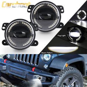 4inch Round LED Fog Lights Halo Driving Lamp For Jeep Wrangler JK Dodge Chrysler