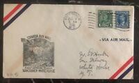 1938 Vancouver Canada First Flight Airmail Cover FFC To White Horse