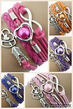 ∞ Freundschaft Infinity Perle Leder Silber Charm Armband Herz Damen Unendlich ∞