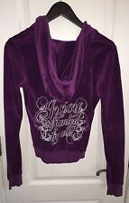 Juicy Couture Purple Velour Silver Glitter Track Suit Sweat Jacket Women's S