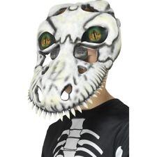T-Rex Skull Mask Kids White Facemask 3D Eyes Horror Fancy Dress