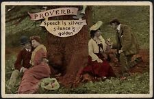 Living Picture Series Postcard - Comic Saucy - Proverb, Speech is Silver
