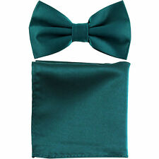 New formal men's pre tied Bow tie & Pocket Square Hankie solid sapphire blue
