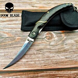 Trailing Point Folding Knife Pocket Hunting Survival Tactical Combat Wood Handle