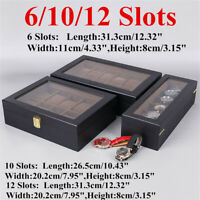 6/10/12 Slots Wooden Watch Display Case Jewelry Storage Box Case Organizer  ~