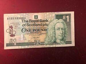 The Royal Bank Of Scotland 1 note Alexander Graham Bell 1997 Banknote. Rare Note