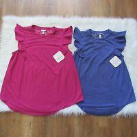 Isabel Maternity Women's Top Blouse Flutter Sleeve Purple Pink Sz XS M L XL XXL