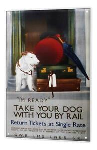Tin Sign Breed Dogs on the train