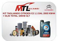 KIT TAGLIANDO CITROEN C2 1.1 DAL 2003 KW44 + OLIO TOTAL 10W40 3LT