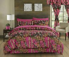 7 pc Queen Hi Viz Hot Pink!  Camo Comforter, Sheets and Pillowcases