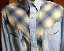 Large True Vtg 80s Larry Mahan Gold Thread Plaid Snap Western Cowboy Shirt Usa