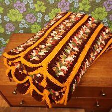 Vintage Orange Brown Stripy Scalloped Knitted Crochet Wool Blanket / Throw Lg