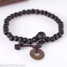 1 Herren Armband Perlen Armkette Armschmuck Buddha Stretch Münzen Schwarz 18cmFL