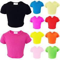 2cafac3178095 Girls Kids Plain Crop Top Short Sleeve T Shirt Stretch Fit Teen Tops 5-13