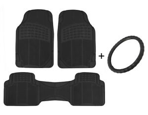 Leather Steering Wheel Cover + All Weather Floor Mats Set - Universal Size