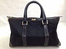 Auth Celine mini Boston Bag Canvas Black hand bag purse 5D213230*