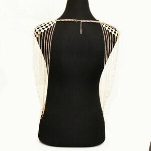 Women Body Jewelry Tassel Link Body Harness Sequins Shoulder Chain Necklace