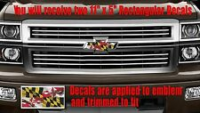 Maryland Flag Emblem OVERLAY Decals Stickers for Chevy Bowtie Emblem- 2- U CUT