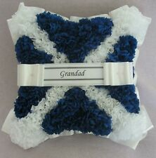 ARTIFICIAL FUNERAL FLOWERS SILK WREATH MEMORIAL GRAVE SCOTTISH FLAG BLUE WHITE