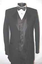 New 60 XL Black Tuxedo Oscar de la Renta Tux Coat, Matching Tropical wool pants