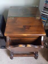 ETHAN ALLEN Antiqued Pine Old Tavern Dough Box End Table w/ Matching Glass Top