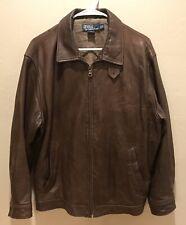 Ralph Lauren Vintage Brown Leather Bomber Jacket Size Medium