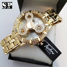 Hip Hop Men's Iced Out Gold Plated Lab Diamond Spinner Metal Band Wrist Watch