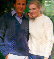 "1699 VINTAGE MENS & WOMANS ARAN JUMPER SWEATER 34-44"" KNITTING PATTERN Photocopy"