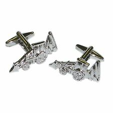 Excavator Tractor Digger Cufflinks with Engraved Chrome Case - X2N157_DCB_ENG