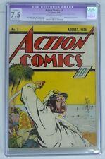 ACTION COMICS #3 CGC 7.5 3rd App SUPERMAN 1938 Rare Off White Pgs