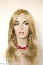 Light Golden Blonde Blonde Long Monofilament Hand Tied Straight Wigs
