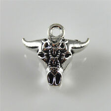 27pcs Vintage Silver Bull Ox Head Shaped Alloy Pendants Charms Findings 52395