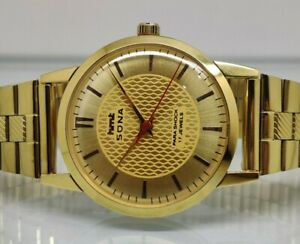 hmt sona hand winding men's gold plated golden dial vintage india watch run