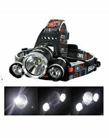 High Power Headlamp 3 x Cree T6 Rechargeable LED Four Function Light NIB