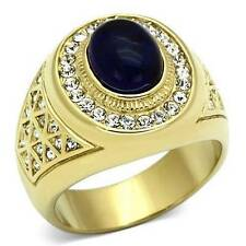 Yellow Gold Plated Signet Oval Stone Costume Rings