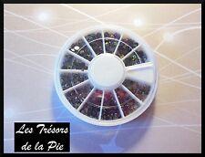 STRASS CRISTALLO 3D unghie Nail art TONDI 1,2,3 et 4mm Nero AURORA BOREALIS