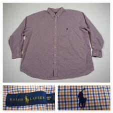 Polo Ralph Lauren 4XB Plaid Pony Long Sleeve Button Front Shirt Mens 4XL Big