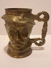 Vintage Heavy Solid Brass Mug Tankard Cup Stein Man Head Bust Cup Man Cave Piece