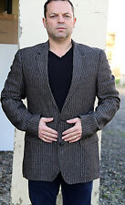HUGO BOSS hedge 1/gense 1 veste de costume slim fit en lin gris rayé TAILLE 52