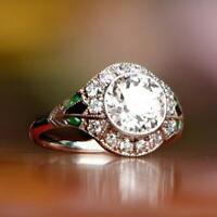 14K White Gold Over Vintage & Antique Retro Engagement Ring 2 Ct Round Diamond