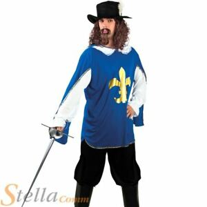 Mens Musketeer Costume Medieval Fancy Dress French Cavalier Fancy Dress Outfit