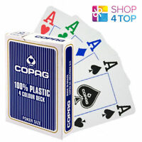 COPAG 4 COLOUR 100% PLASTIC JUMBO INDEX POKER PLAYING CARDS DECK BLUE NEW
