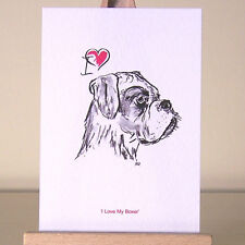 "I love my Boxer Dog drawing miniature ACEO art card ~ humans who ""heart"" boxers"