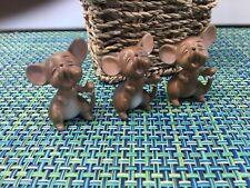"Vtg Set Of 3 Josef Originals Ceramic Brown Three Blind Mice Mouse 2"""