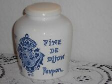 Early Blue and White GREY POUPON French Mustard Moutarde Jar Crock with Lid