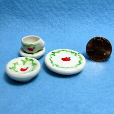 Dollhouse Miniature Dish Set - 4 Pc Dishes, Bowl & Cup Apple Design Hand Crafted