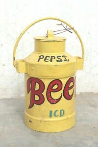 Old Vintage Handmade Iron Milk Pail Can Antique Indian Decor Collectible BN-28