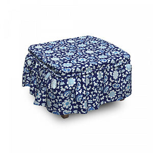 Ambesonne Floral Bloom Ottoman Cover 2 Piece Slipcover Set and Ruffle Skirt