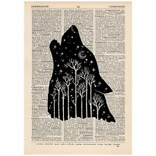 Wolf Forest Dictionary Print OOAK, Art, Alternative, Hipster, Unique, Gift,