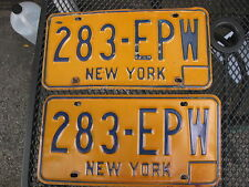 VINTAGE   NY NEW YORK STATE PLATE   # 283 EPW  AUTHENTIC ORIGINAL US PLATES (2)
